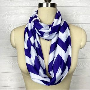 Deep Purple & White Chevron Infinity Circle Scarf